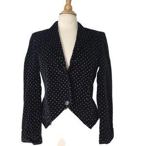 VINTAGE Fitted Black Velour Velvet Blazer Size M/L